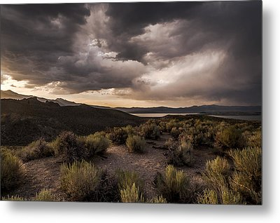 Stormy Day At Mono Lake Metal Print by Cat Connor