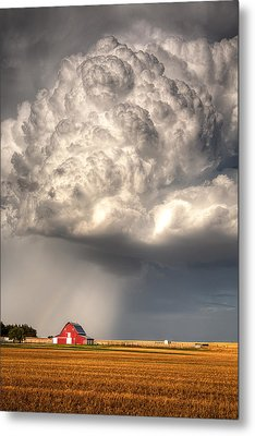 Stormy Homestead Barn Metal Print by Thomas Zimmerman
