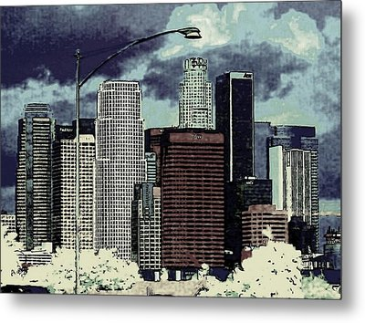 Metal Print featuring the photograph stormy Los Angeles from the freeway by Jodie Marie Anne Richardson Traugott          aka jm-ART
