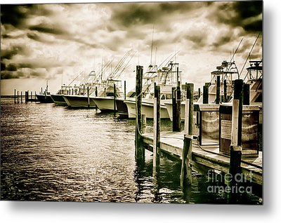 Stormy Marina On The Outer Banks Metal Print