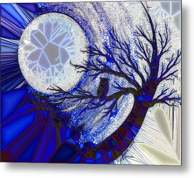 Stormy Night Owl Metal Print by Agata Lindquist