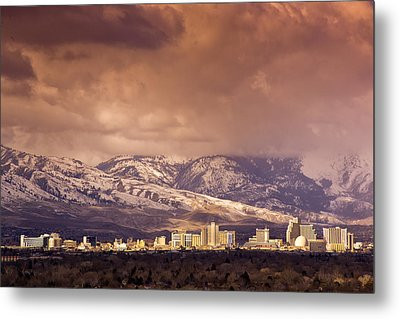 Stormy Reno Sunrise Metal Print by Janis Knight