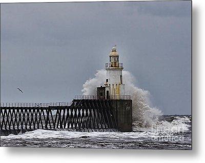 Stormy Sea At Blyth Metal Print