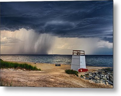 Stormy Seashore Metal Print by Mark Miller