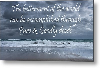 Stormy See Bahai Quote Metal Print by Rudy Umans