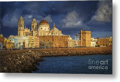Stormy Skies Over The Cathedral Cadiz Spain Metal Print by Pablo Avanzini