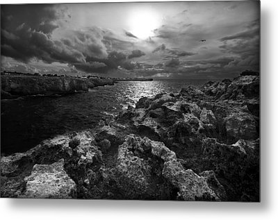 Blank And White Stormy Mediterranean Sunrise In Contrast With Black Rocks And Cliffs In Menorca  Metal Print