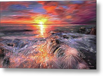 Stormy Sunset At Water's Edge Metal Print by Angela A Stanton