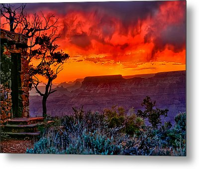Stormy Sunset Greeting Card Metal Print by Greg Norrell