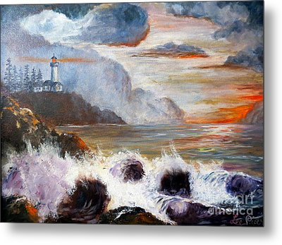 Stormy Sunset Metal Print by Lee Piper