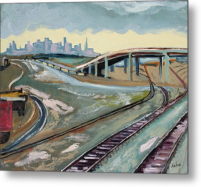 Metal Print featuring the painting Stormy Train Tracks And San Francisco  by Asha Carolyn Young