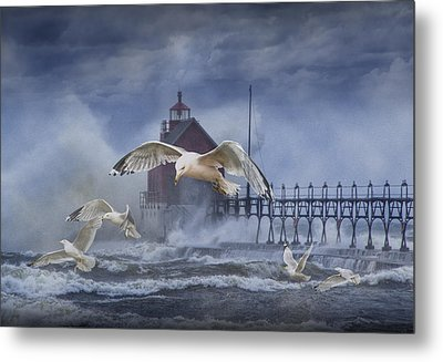 Stormy Weather At The Grand Haven Lighthouse Metal Print by Randall Nyhof