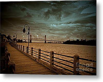 Stormy Wilmington Riverwalk  Metal Print