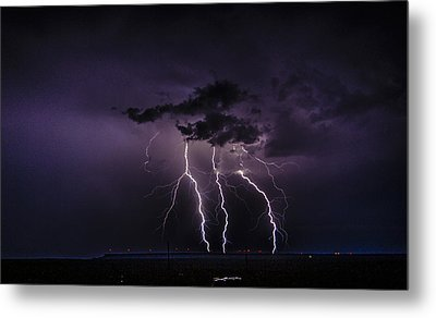 Stormy Wind Farm Metal Print