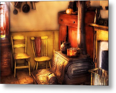 Stove - An Old Farm Kitchen Metal Print by Mike Savad