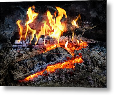 Stove - The Yule Log  Metal Print by Mike Savad
