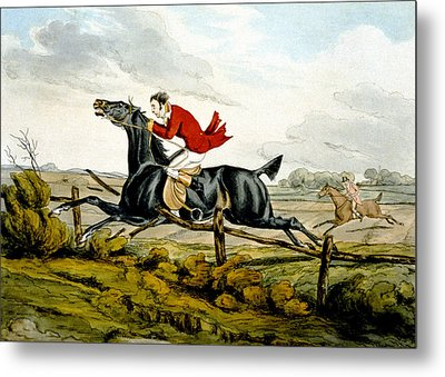 Straight Through The Fence From Qualified Horses And Unqualified Riders Metal Print by Henry Thomas Alken