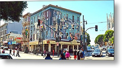 Strange Apartment Building In San Francisco By Chinatown Metal Print by Jim Fitzpatrick
