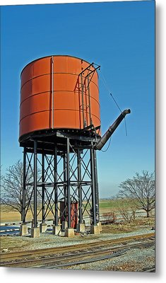 Strasburg Water Tower Metal Print by Skip Willits