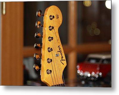Metal Print featuring the photograph Stratocaster Headstock by Chris Thomas