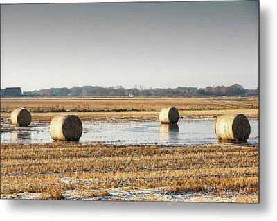 Straw Bales On Flooded Field Metal Print