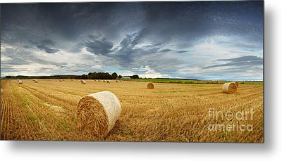 Straw Bales Pano Metal Print by Jane Rix