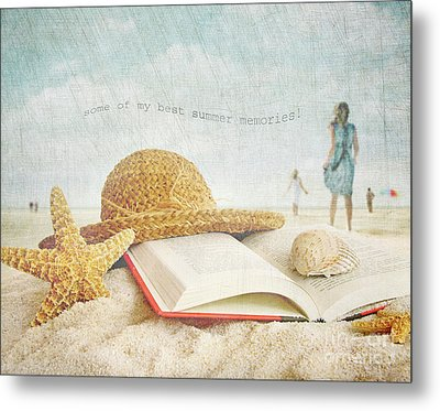 Straw Hat And Book In The Sand Metal Print by Sandra Cunningham