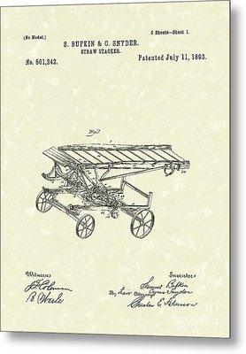Straw Stacker 1893 Patent Art Metal Print by Prior Art Design