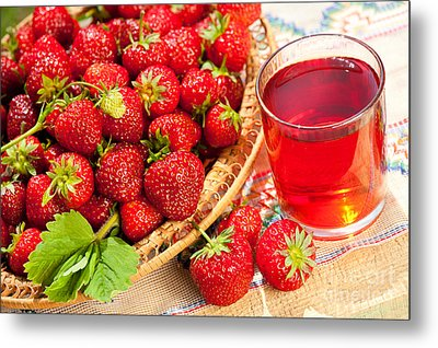 Red Strawberries In Basket And Juice In Glass  Metal Print by Arletta Cwalina