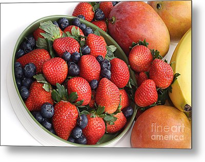 Strawberries Blueberries Mangoes And A Banana - Fruit Tray Metal Print by Andee Design