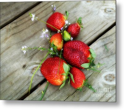 Metal Print featuring the digital art Strawberrries by Valerie Reeves