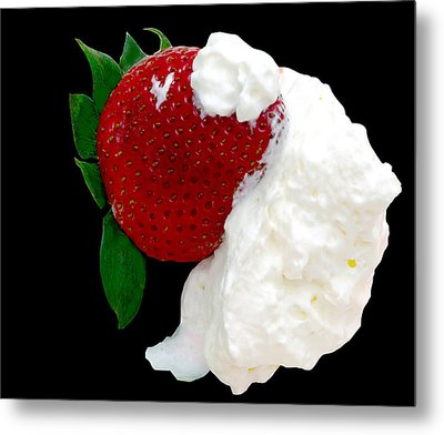 Strawberry And Cream Metal Print by Camille Lopez