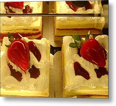 Strawberry Cakes Metal Print by Amy Vangsgard
