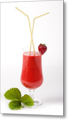 Cocktail Of Fresh Blended Strawberries In Glass  Metal Print
