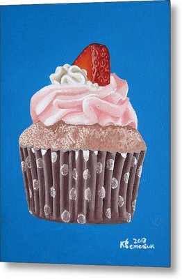 Strawberry Cupcake Metal Print by Kayleigh Semeniuk