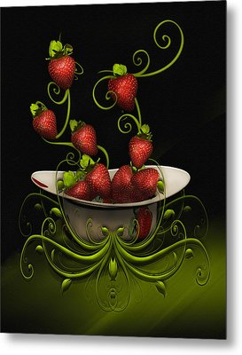 Metal Print featuring the digital art Strawberry Fancy by Katy Breen