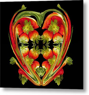 Strawberry Heart Metal Print by David Pantuso