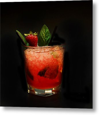 Strawberry Mojito Metal Print by Gina Dsgn