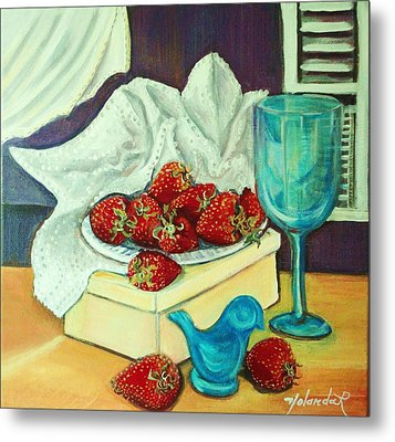 Strawberry On Box Metal Print by Yolanda Rodriguez