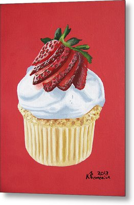 Strawberry White Metal Print by Kayleigh Semeniuk