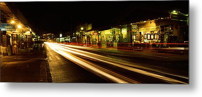 Streaks Of Lights On The Road In A City Metal Print