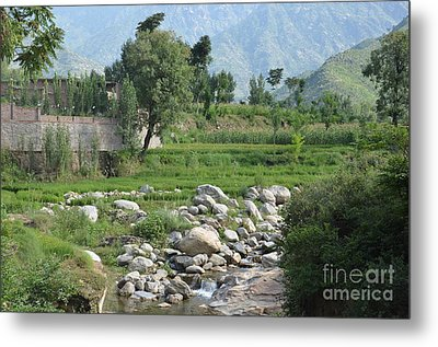 Stream Trees House And Mountains Swat Valley Pakistan Metal Print by Imran Ahmed