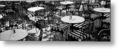Street Cafe, Frankfurt, Germany Metal Print by Panoramic Images