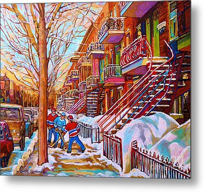 Street Hockey Game In Montreal Winter Scene With Winding Staircases Painting By Carole Spandau Metal Print