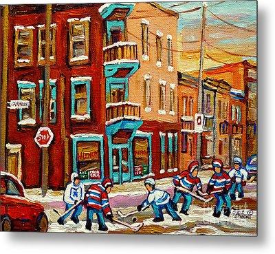 Street Hockey Practice Wilensky's Diner Montreal Winter Street Scenes Paintings Carole Spandau Metal Print by Carole Spandau