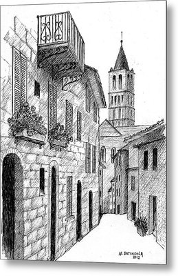 Street In Assisi Italy Metal Print