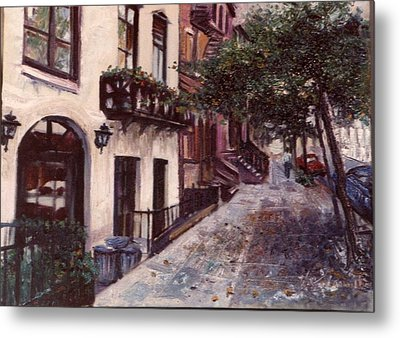 Metal Print featuring the painting street in the Village NYC by Walter Casaravilla