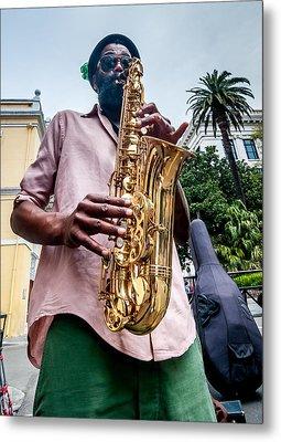 Street Jazz On Display Metal Print