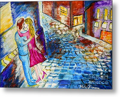 Street Kiss By Night  Metal Print by Ramona Matei