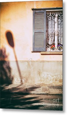 Metal Print featuring the photograph Street Lamp Shadow And Window by Silvia Ganora